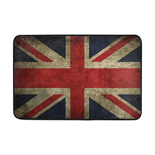 LUPINZ Fußmatte mit Retro-England-Flagge, Teppich, Eingangsbereich, Schuhe, Schaber, Fußmatte, Fußmatte, Fußmatte, 60 x 40 cm, rutschfest, waschbar, verschleißfest
