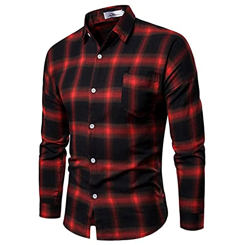 Men's Fashion Dress Shirt, Button Down Regular Fit Long Sleeve Plaid Flannel Casual Shirts Patchwork (L, Red, l)