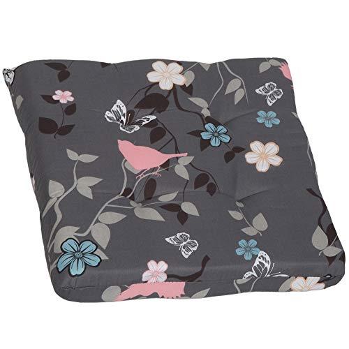 Beo Sitzkissen Gartenmöbel | Made in EU | Grau Rosa | Stuhlkissen Wasser- und fleckenabweisend | Sesselkissen 41x41 cm für Stuhl | hautfreundlich, pflegeleicht | 4,5 cm dick | Öko-Tex Standard