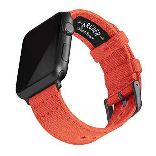 Archer Watch Straps - Canvas-Uhrenarmband für Apple Watch (Rot Orange, Space Grau, 42/44mm)