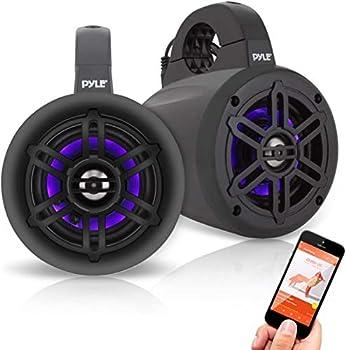 Pyle PLMRLEWB47BB 4 Inch 300 Watt Bluetooth Wireless Streaming Waterproof Marine Grade Tower Speaker System Pair
