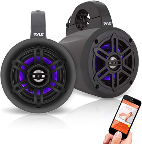 Pyle PLMRLEWB47BB 4 Inch 300 Watt Bluetooth Wireless Streaming Waterproof Marine Grade Tower Speaker System, Pair