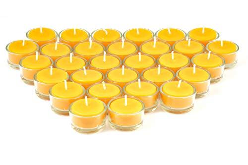 Imkerei Freese Teelichter aus 100% Bienenwachs vom Imker inkl. Teelichtbehälter aus Glas - 30 Stück