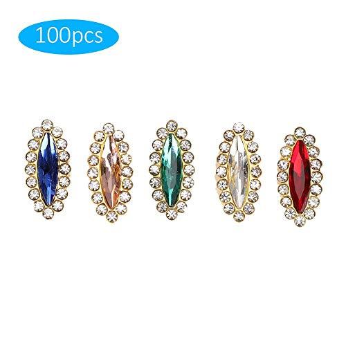 100Pcs Marquise Rhinestones, Marquise Rhinestones Anillos Plástico Diamante Multi-Color Clear Flatback Beads Costura Ropa Lentejuelas
