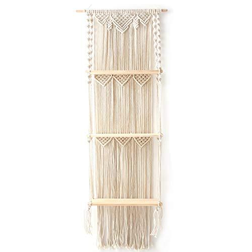 Macramee - Estantería para colgar en la pared, macramé, 3 niveles, estilo bohemio, para colgar en la pared, madera, estantes flotantes para plantas, estantería hecha a mano, macramé, cuerda de algodón