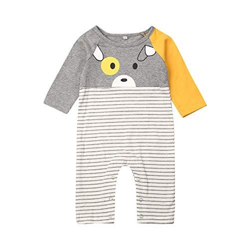 Longfei Mono de algodón a rayas para recién nacido, de manga larga, lindo oso estampado de rayas
