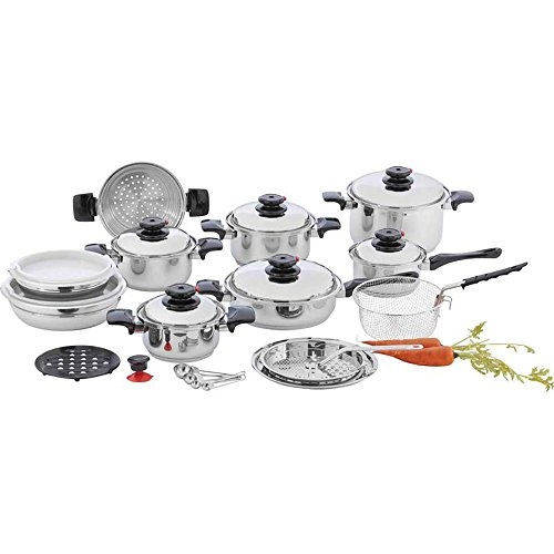 Chef's Secret 1797214 28 Piece 12-Element T304 Stainless Steel Waterless Cookware Set, As pictures show