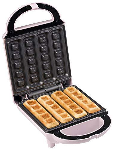 Bestron wafelijzer voor wafelsticks, wafelautomaat in retrodesign, 460 watt, Sweet Dreams, roze