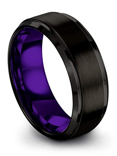 Chroma Color Collection Tungsten Carbide Wedding Band Ring 8mm for Men Women Purple Interior with Black Exterior Step Bevel Edge Brushed Polished Comfort Fit Anniversary Size 9