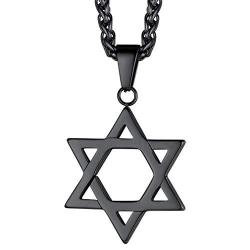 FaithHeart Collar Negro Acero Inoxidable Estrella David Colgante Pequeño Amuleto de Protección Joyería Religiosa