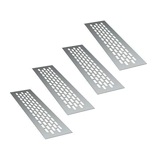 sossai® Rejillas de ventilación de aluminio - Alucratis (4 piezas) | Rectangular - dimensiones: 24,5 x 6 cm | Color: aluminium | rejilla de aire