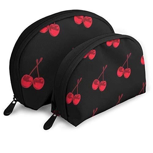 Bolsa de belleza cosmética, cereza práctica bolsa de maquillaje de embrague para mujeres y niñas
