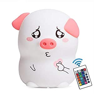 New Exotic LED Nursery Night Lights for Kids Cute Animal Silicone Baby Night Light with Touch Sensor Cute Pig Night Light for Baby Toddler Girls Best Gifts for Adult Boys Girls Kids (Cute Pig)