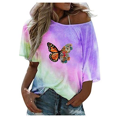 ZHANSANFM Damen Sommer T-Shirts Schmetterling Gedruckt Tie-Dye Retro Übergroße Casual Kurzarm Rundhals Oberteile Tops Bluse Tshirt Tee Sweatshirt (S, Lila)