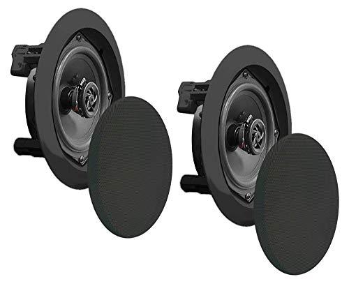 Pyle 2 New PDIC51RDBK 5.25 Inch 150 Watt Black in-Ceiling Flush Speakers Pair