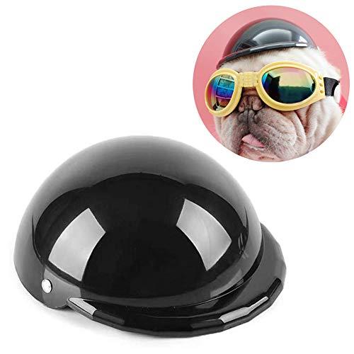 HEEPDD Haustier Hund Hut Coole Motorrad Helm Fahrrad Reiten Cap für Kleine Mittelgroße Katzen Hunde Geburtstagsgeschenk (Schwarz)