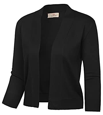 GRACE KARIN Women's 3/4 Sleeve Cardigan Cropped Open Front Knitted Outwear (Black,L) from