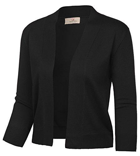 GRACE KARIN Women's Classic Cropped Cardigan Long Sleeve Sweaters Shrug (Black,M)