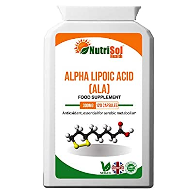 NutriSol Health Alpha Lipoic Acid (ALA) 300mg 120 Vegan Capsules | 50-50 Blend RALA and SALA | Daily ALA Supplement | GMP Quality Food Supplement | Made in The UK
