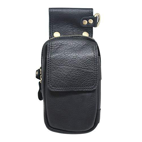 Boshiho Cuero Bolso De La Cintura, Cuero Genuino Bolso Hombre Cintura Pack Riñoneras Hombre de Piel Auténtica Bolso de Teléfono Bolso de Cadera con Cinturón Hombre Cuero Bolsa(Gris)