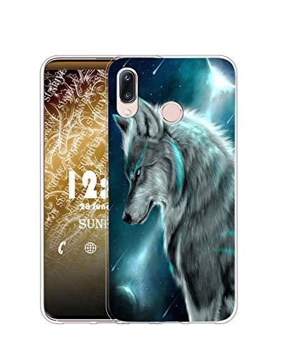 Sunrive Kompatibel mit Alcatel 3C (2019) Hülle Silikon, Transparent Handyhülle Schutzhülle Etui Hülle (TPU Wolf)+Gratis Universal Eingabestift MEHRWEG