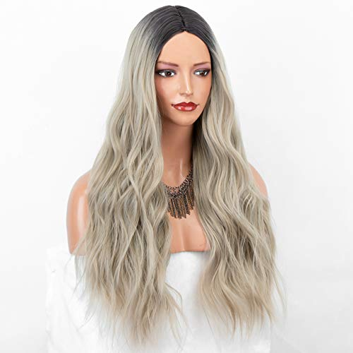 CHANTICHE Ash Blonde Wig with Dark Roots Long Loose Wavy Synthetic Wig Glueless Ombre Blonde Wigs for Women Halloween Costume 22 Inch
