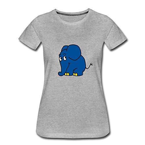 Sendung mit dem Elefanten Kleiner Elefant Frauen Premium T-Shirt, 3XL, Grau meliert