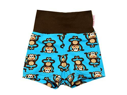 Kleine Könige Kurze Pumphose Baby Jungen Shorts · Modell Äffchen türkis braun · Ökotex 100 Zertifiziert · Größe 122/128