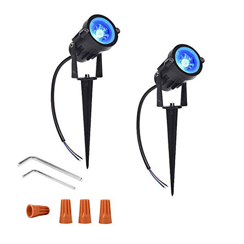 Youngine Pack of 2, 12V Low Voltage LED Landscape Lights Waterproof Outdoor Walls Trees Flags Spotlights 5W COB Garden Yard Path Lawn Light with Spike Stand (Blue)