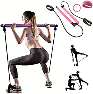 TTCB Portable Yoga Pilates Bar Kit, Pilates Equipment with Resistance Band Bar for Total Body Workout, Yoga, Fitness, Stre...