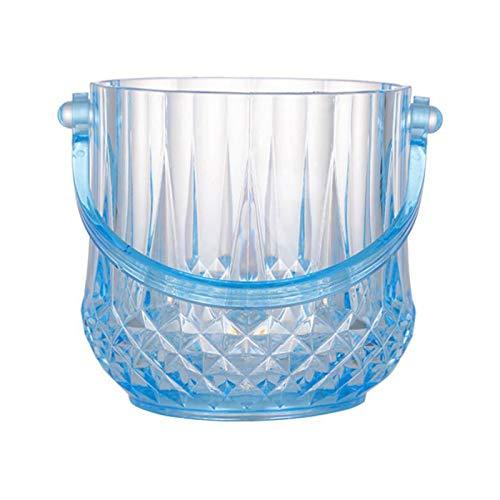 YANGYUAN Cubo de hielo de plástico enfriador de vino, cubeta de hielo aislante, elegante tina de bebidas de cristal para fiestas, adecuado para fiestas, camping al aire libre (color: azul)