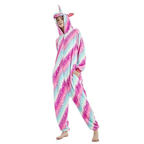 Kika Monkey Pijama disfraz de unicornio para adultos de franela, tipo mono morado L