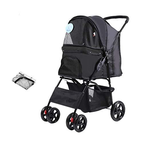 Honden kinderwagen, buggy wagen huisdier buggy drager buiten reis auto kooi 4 wielen voor teddy invaliden hond kleine middelgrote hond 7
