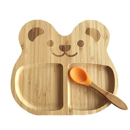 Pure Vie Präsentiert - Babyteller aus Bambus mit rutschfestem Saugnapf inkl Baby Saugnapf-Teller, Standfeste Saug-Fütter-Teller passendem Baby-Löffel Hochwertiges Babygeschirr Set (Bear) 005