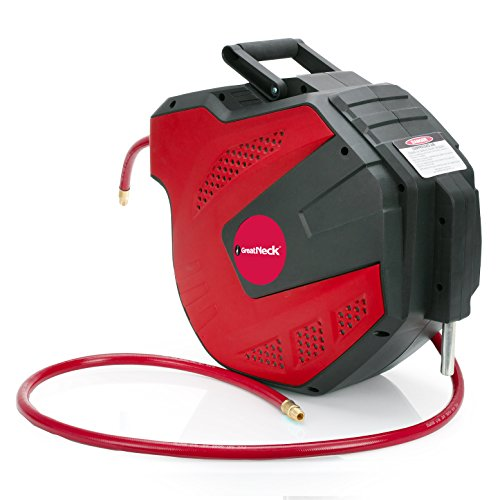 GreatNeck 80180 Wall Mount, Retractable Air Hose Reel- 3/8' x 50 Ft.