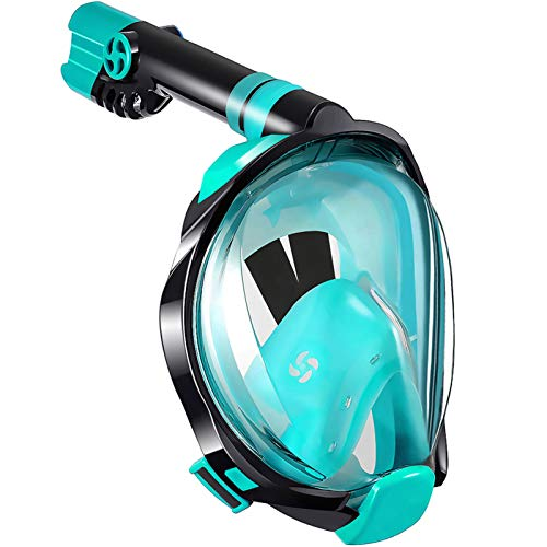 WSTOO Full Face Snorkel Mask,180 Degree Panoramic Anti-Fog Anti-Leak with Camera Mount Foldable Snorkel Mask