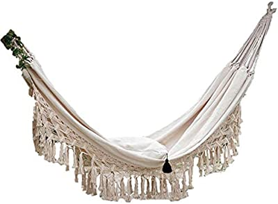 Hand-Woven Cotton Tasseled Double Canvas Hammock, Beige, can be Used in The Terrace, Bedroom, Patio, Beach, Camping, etc.
