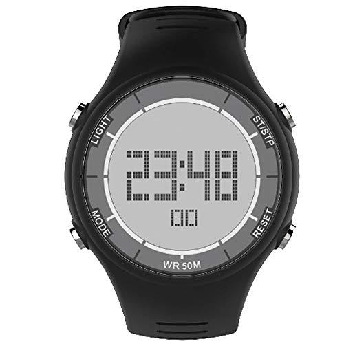 REIUYTHO Relojes del Reloj Digital for los Hombres, clásico Correa Multifuncional Reloj Deportivo Digital de Pantalla a Prueba de Agua Casual Cronómetro Alarma Luminosa Simple Ejército Reloj