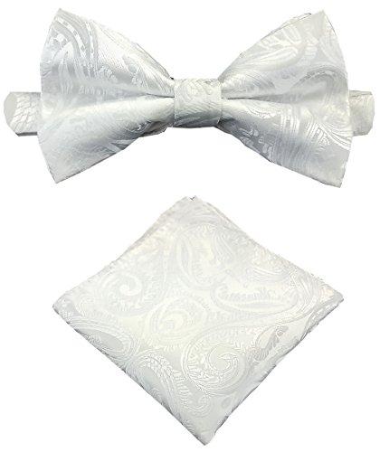 Louis Binder de Luxe Fliege mit Einstecktuch und Aufbewahrungsbox 2er Fliegen Set Schlips Querbinder Schleife Mascherl Krawattenschleife106 weiß Paisley