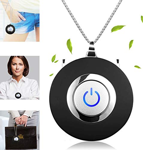 Portable Mini Air Purifier Wearable Air Purifier Necklace Negative Ion Generator USB Personal Air Freshener for Adults/Kids (Black)