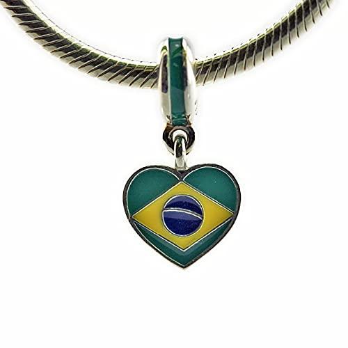 WUXEGHK Se Adapta A La Pulsera Pandora Auténtica Plata De Ley 925 Brasil Escucha La Bandera Colgantes Abalorios para Mujeres Fabricación De Joyas Kralen DIY