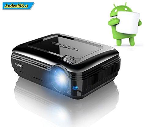 LESHP Proiettore, Android 6.0, Blutetooth 4.0 1GB RAM/8GB ROM, Lampada LED da Lumen 3200 Contrasto 3000:1, Full HD 1080P Per il Tablet PC/Smartphone