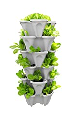 "A Simple Space Saving Garden Solution: Plant & Stack Easy Do It Yourself Assembly - No Tools Required - Lightweight (5) Stackable Planters Plus (1) Bottom Saucer; 12""x12""x18""; Total Soil Volume 28 Quarts 20 Plant Garden In 1 Location vs 20 Plants 20 ..."