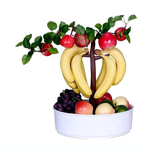 dynaGREEN Novelty Fruit Bowl Basket Banana Hook Hanger Bonsai Tree Combo Vibrant Colorful Unique Home Decor Centerpiece - Apple (White)