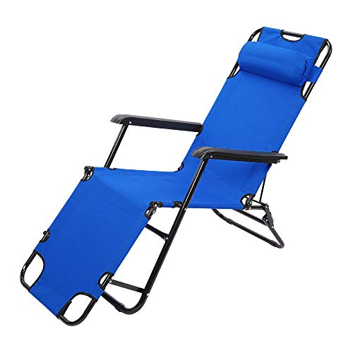 Sun Lounger Chair Folding Reclining Chair Garden Outdoor Camping Adjustable Back with Pillow