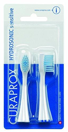 Curaprox Hydrosonic SENSITIVE Aufsteckbürsten, 2x Bürstenköpfe optimal für eine sanfte und schonende Pflege auch für Zahnspangen, Doppelpack, CHS 200
