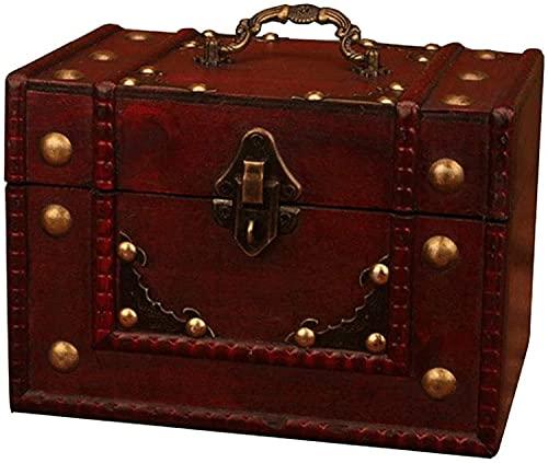 OH Caja de Maleta Tesoro de Madera Cofre de Alenamiento Vintage Caja de Joyería Caja de Alenamiento Cosmético Mejores Cajas Decorativas Alta capacidad/Rojo / 20×13.5×14cm