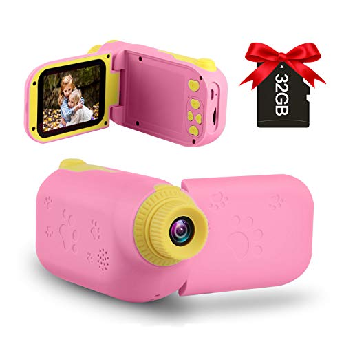 GKTZ Kids Video Camera Digital Cameras Camcorder Birthday Gifts for Boys and Girls Age 3 4 5 6 7 8 9 ,HD Children Videos Recorder Toy for Toddler with 32GB SD Card - Pink