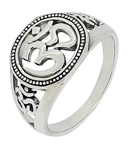 TreasureBay 925 Sterling Silver for Women, Ohm Om Ring For Men and Yogis (T)