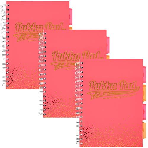Pukka Pad, Blush 5-Subject Divider Notebook 3-Pack 7 x 10 In. 100 Premium 80 GSM, Blush
